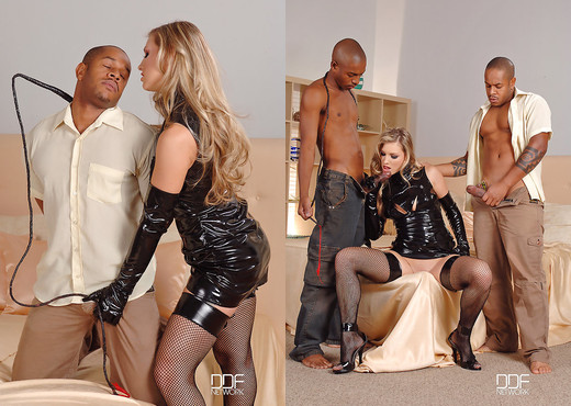 Katy Caro - Milking of the two choco cock pops! - Interracial Image Gallery