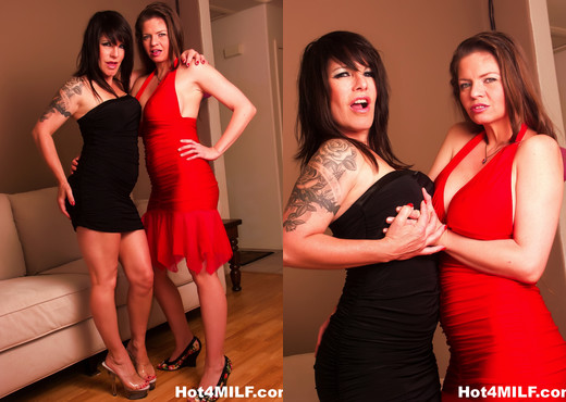 Busty brunette MILFs fuck each other on the couch - Lesbian Hot Gallery