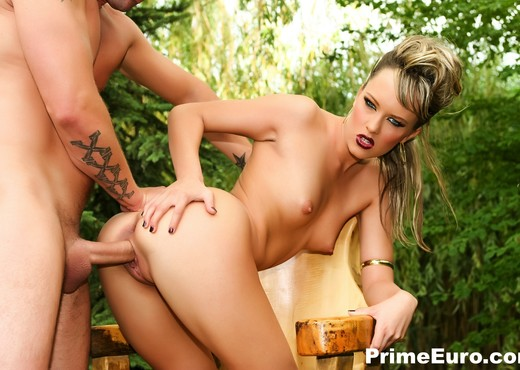 Pretty Blue Angel gets her ass rocked outdoors - Prime Euro - Anal TGP