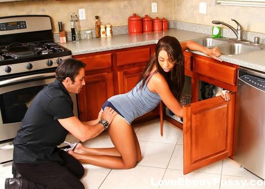 Tall brunette Jordin Skye has interracial sex in the kitchen - Ebony Nude Gallery