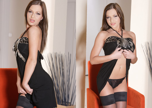 Teen Dreams - Jennifer in black sheer stockings and minidres - Teen Sexy Gallery