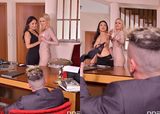 Cristina Miller, Amber Jayne - Cum Swap At The Office - Hardcore Hot Gallery
