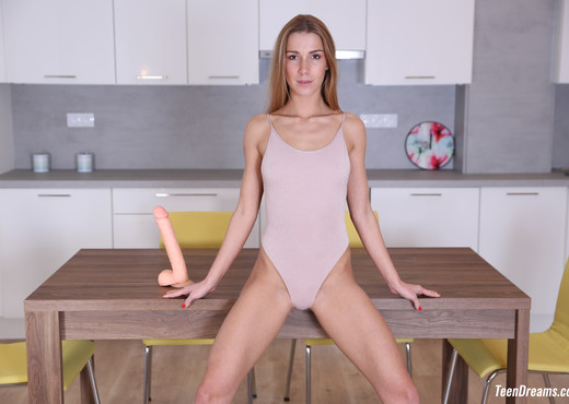 Teen Dreams - Alexis Crystal takes a big dildo on her table - Teen Image Gallery