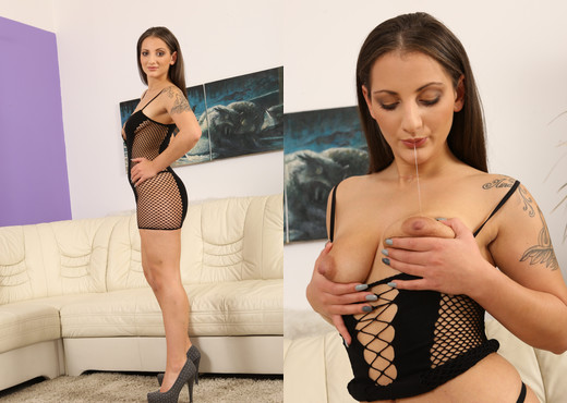 Nicolette Noir strips from fishnet dress to play - Toys HD Gallery
