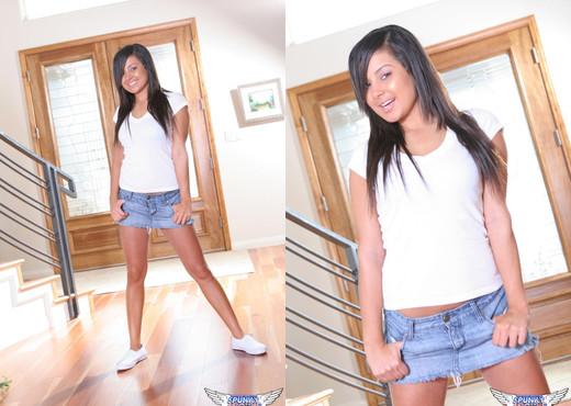 Samira Kiss - Tiny Jean Skirt - SpunkyAngels - Solo Hot Gallery