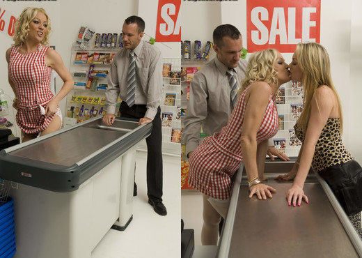 Cindy Behr with Paige Ashley threesome at a grocery store - Hardcore Sexy Photo Gallery