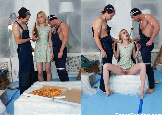 Innocent blonde gets double penetrated by the painters - Teen HD Gallery