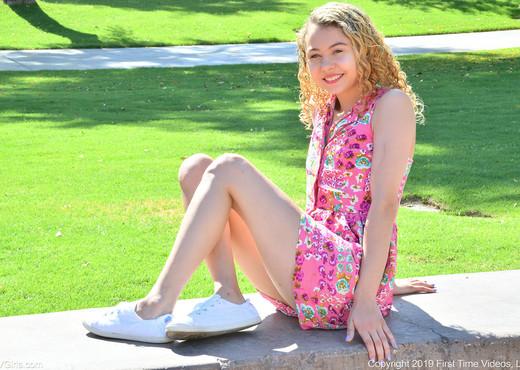 Allie - Pink Flower Dress - FTV Girls - Solo Nude Gallery