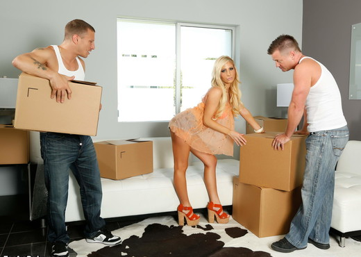 Tasha Reign gets fucked by 2 men who are helping her move - Pornstars Picture Gallery