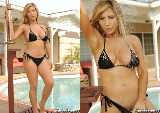 Tasha Reign is in need for some pool time and then gets nake - Pornstars Hot Gallery
