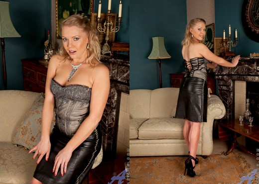 Abi Toyne - Leather Skirt And Heels - MILF Nude Pics