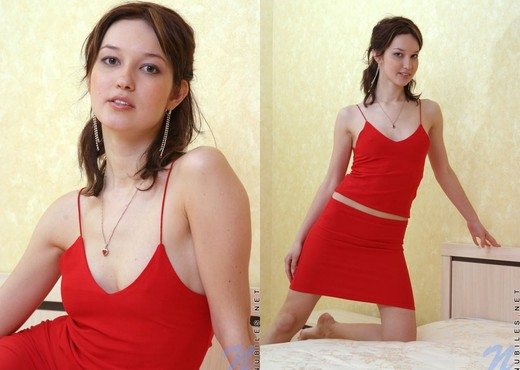 Adel - taking off her sexy red dress - Teen Sexy Gallery