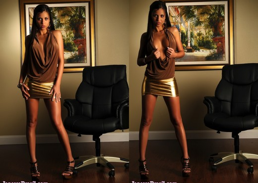 Janessa Brazil - Hot Babe wearing Tight Shiny Mini Skirt - Solo Nude Gallery