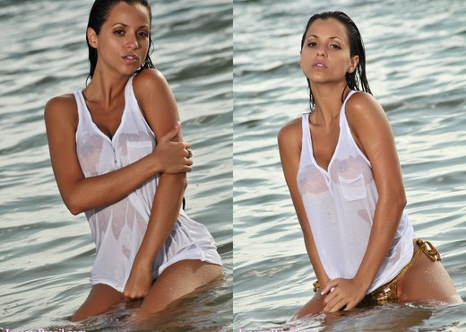 Janessa Brazil - Sexy See Through White Shirt at the Beach - Solo Hot Gallery
