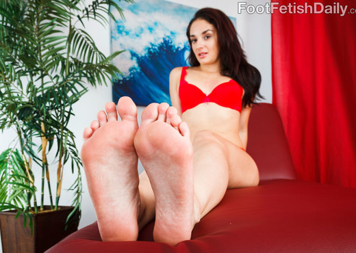Sheena Ryder Wraps Her Sexy Feet Around a Black Cock - Interracial Sexy Photo Gallery