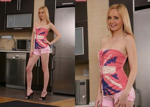 Alice Boom - blonde getting nasty in the kitchen - Solo Nude Pics