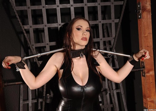 Anna Song handcuffed to a rack - Boobs HD Gallery