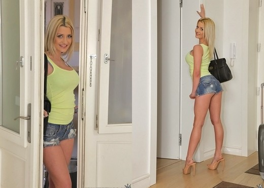 Busty blonde Sienna Day blows a large dick before a hard fuck around the house № 180436 бесплатно